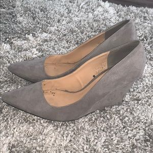 Grey express faux suede wedges, size 9